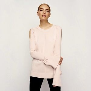 KARL LAGERFELD pink cold shoulder bow bell sleeve